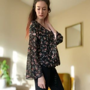 Sheer Floral Maurices Blouse